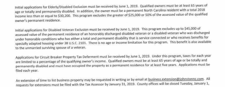 2019 Johnston County Tax Listing